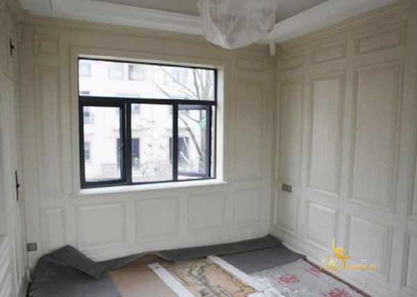 Белые стеновые панели МДФ-шпон дуба классика. до потолка