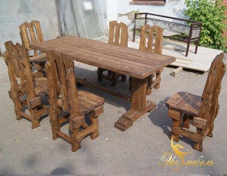Стол и 6 стульев под старину из массива сосны