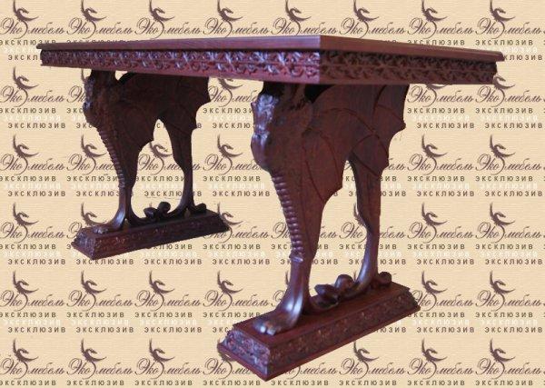 Стол из массива ясеня на драконах с резьбой