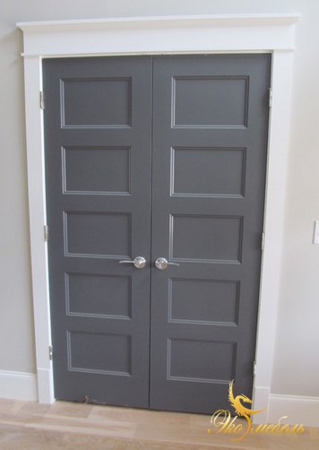 Двустворчатые двери из мдф-серые RAL