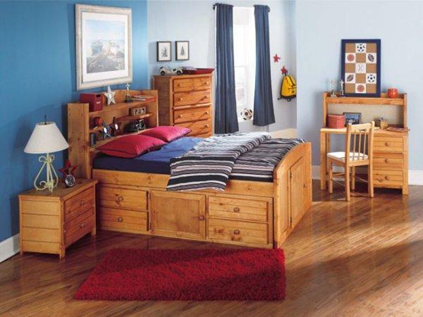 Кровать со спинкой-стеллаж