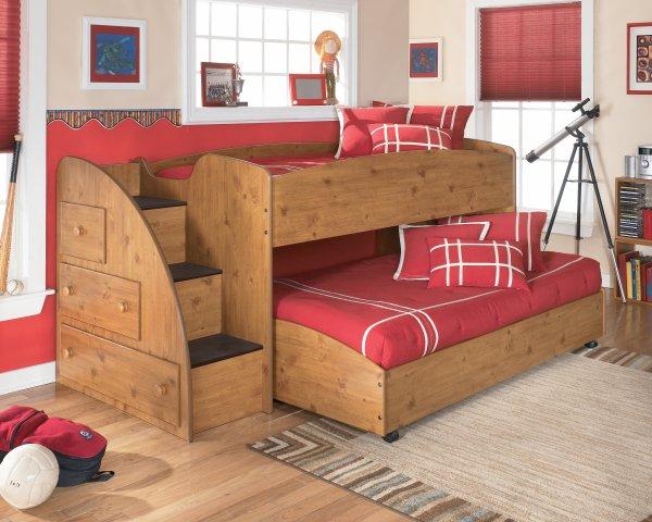 Двух ярусная кровать с комодом-лестницей Дизайн из Европы